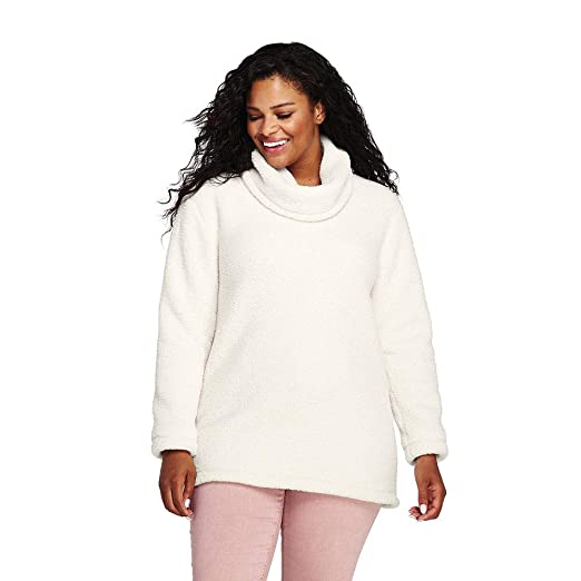 e8633faaca12b Lands  End Women s Plus Size Cozy Sherpa Fleece Pullover at Amazon Women s  Clothing store