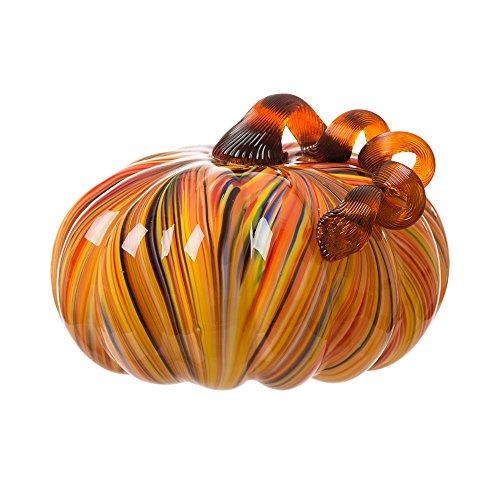Glitzhome Multi Striped Large Glass Pumpkin -