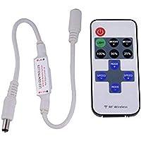 Busirde 5-24V Mini LED Strip 11 Boutons contrôleur Dimmer Plastique RF Couleur Unique Télécommande sans Fil