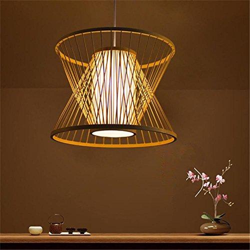 lámpara de araña Rattan colgante linterna de bambú luz China pastoral creativo restaurante salón de té corredor pasillo luz de bambú No contiene fuente de luz , 1