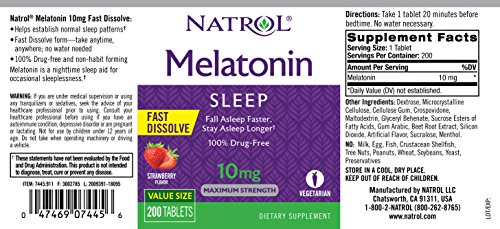 Natrol Melatonin Fast Dissolve Tablets, Strawberry Flavor, 10mg, 200Count by Natrol (Image #2)