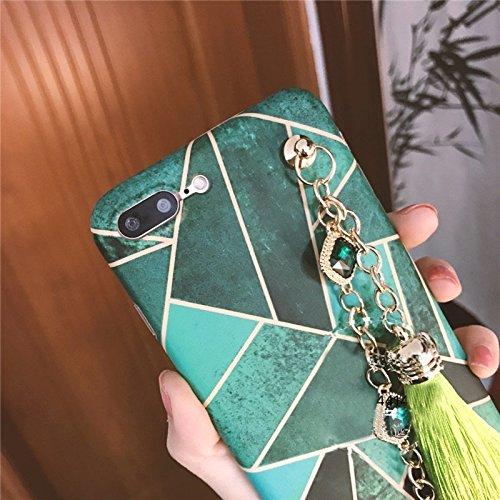 Geometrische Abbildung Vollständige Abdeckung Weiche schützende rückseitige Abdeckungs-Fall mit Diamant-Ketten-Troddeln Anhänger für IPhone 7 Plus by diebelleu