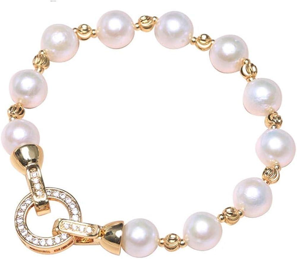Roapk Pulsera De Perlas para Mujer Hebilla De Corazón Barroco Pulsera De Perlas Irregulares Blancas Naturales Tamaño del Grano 15/16/17/18/19/20/21 / 22Cm-20Cm_Round_Calsp