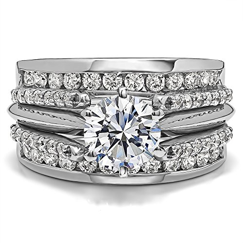 Guard & Solitaire Set,Includes 2 pieces: Guard and 1 Carat CZ Solitaire Size 3 To 15 in 1/4 Size Interval ()
