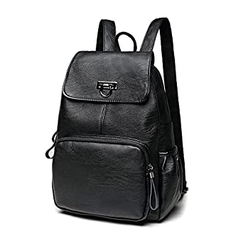 76954236bd Amazon.com  Women Leather Backpack Casual Daypack Fashion Shoulder Bag  Travel bag Mini Backpack Wallet  Clothing