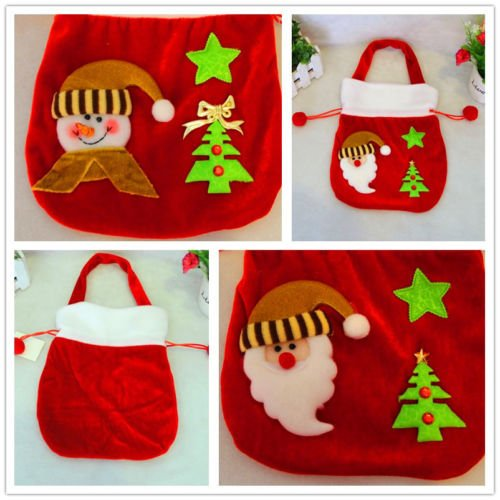 ANGELS--Large Christmas Santa Claus Stockings Candy Gift Bag Sweet Sack Xmas (When Does Disney Decorate For Christmas)