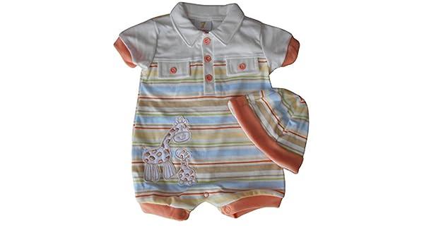 0 - 3 meses - Bebé niños ropa de verano para - Gorgeous crema y de rayas multicolor con jirafas Short-Legged Pelele y gorro disfraz Set: Amazon.es: Bebé