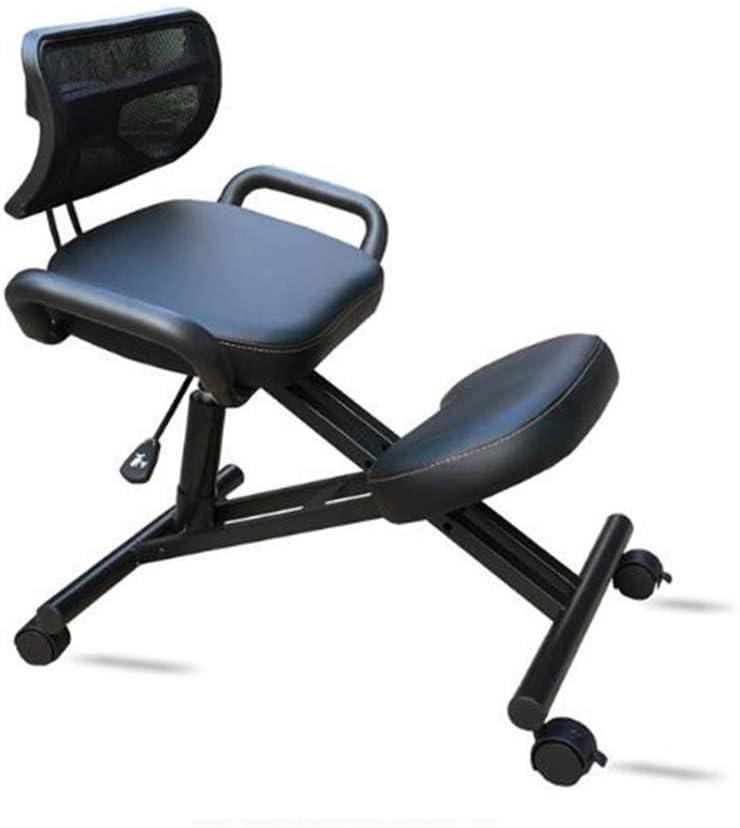 人間工学に基づいた折り畳み式の椅子、家庭やオフィス用の調節可能なスツール、リラックスできる厚く快適なクッション (Color : With Handrails Black Pu)