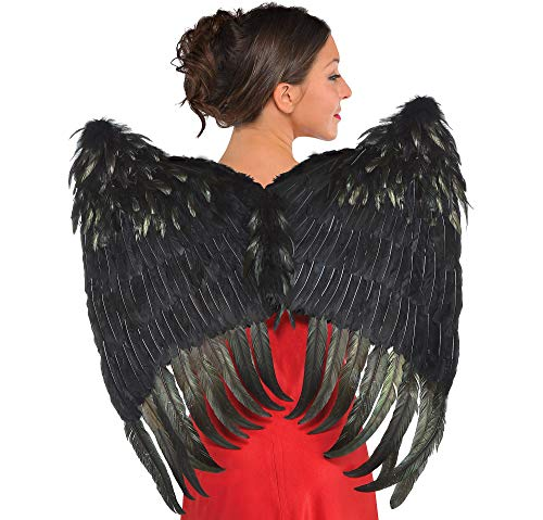 amscan Black Feather Wings Halloween Costume Accessories for Women, One Size
