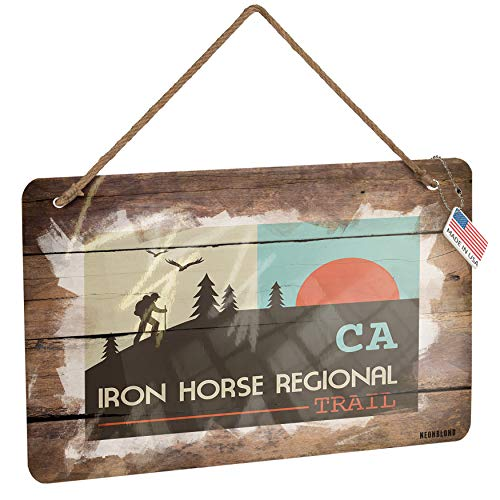 NEONBLOND Metal Sign US Hiking Trails Iron Horse Regional Trail - California Christmas Wood - Horse Iron Trail