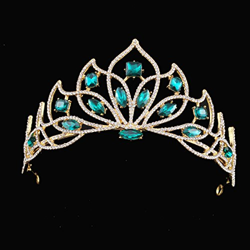 Stuffwholesale Gold Tiara Emerald/Siam Marquise Crown Wedding Party Crystal Rhinestone Hair Accesories (Emerald) -