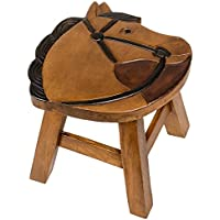 Horse Design Hand Carved Acacia Hardwood Decorative Short Stool