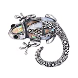 EVER FAITH Austrian Crystal Gorgeous Climbing Gecko Insect Animal Brooch Pin Antique Silver-Tone