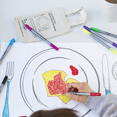 Doodle Placemat To Go, Kids Color Your Own Placemat, Coloring Placemat with Washable Fabric Markers