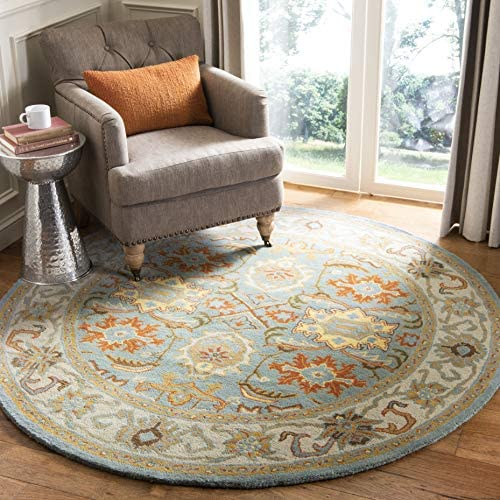 Safavieh Heritage Collection HG734A Handcrafted Traditional Oriental Light Blue and Ivory Wool Round Area Rug 8' Diameter