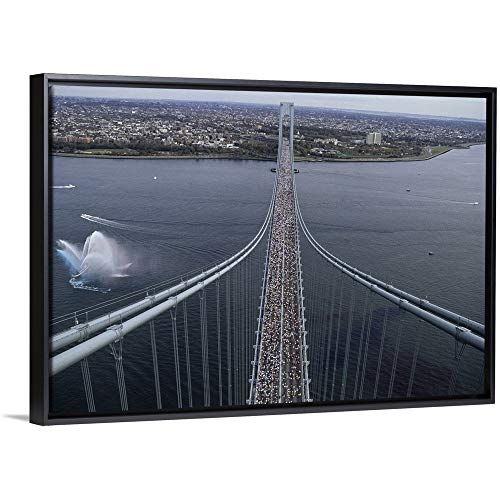 (Steven E. Sutton Floating Frame Premium Canvas with Black Frame Wall Art Print Entitled Runners on The Verrazano Bridge competing in The 1998 NYC Marathon 30
