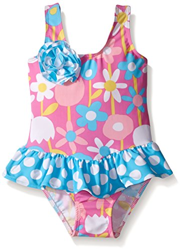 Flap Happy Baby UPF 50+ Serena Contrast Swimsuit with Ruffle Skirt , Petal Pops, 18 Months