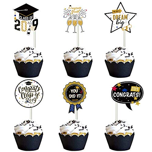 2019 Graduation Cupcake Toppers Food/Appetizer Picks For Graduation Party Mini Cake Decorations 24 Pieces -