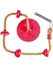 5 Star TD Climbing Rope Tree Swing with Platforms Red Disc Swing Seat - Outdoor Playground Set Accessories Tree House Flying Saucer Outdoor Toys Swing Set - Adjustable Height Climb Rope Up to 6.5 FT
