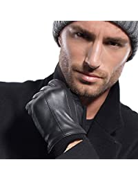 MATSU Men Winter Warm Lambskin TouchScreen Caremere Lined Leather with Cuffs Gloves M2002