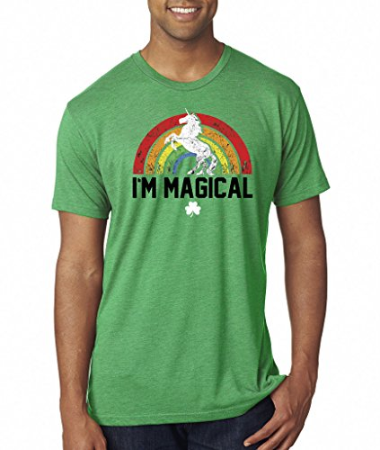 SoRock Men's St. Patrick's Day I'm Magical Rainbow Unicorn Tri Blend Tshirt Xlarge Green