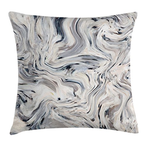 """Ambesonne Marble Throw Pillow Cushion Cover, Japanese Marble Motif with Artisan Pigment Effects Interior Stucco Design, Decorative Square Accent Pillow Case, 16"""" X 16"""", Beige Grey"""
