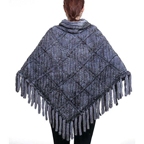 URSFUR Châle/Cape Chaud D'hiver/printemps Tressé Rayé pour Femme en Fourrure de Vison(Style 10)