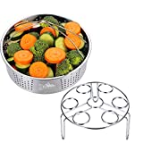 Footek Steamer Basket with Egg Steamer Rack for Instant and Pressure Cooker Accessories, Vegetable Steam Rack Stand fits 5,6,8 Qt Pressure Cooker, 304 18/8 Stainless Steel, 2 Pieces