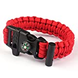 Paracord Survival Bracelet Rope, TRENDINAO New Paracord Survival Bracelet Rope Flint Fire Starter Compass Whistle (Red)