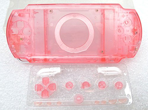 Replacement Full Housing Shell Case Cover with Buttons Screws For PSP 1000 PSP1000-Clear Pink (Housing Faceplate Lens Full)
