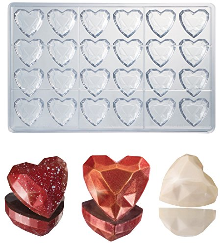 Martellato Polycarbonate Chocolate Mold, Heart Gem Diamond 33mm x 33mm x 15mm High, 24 Cavities