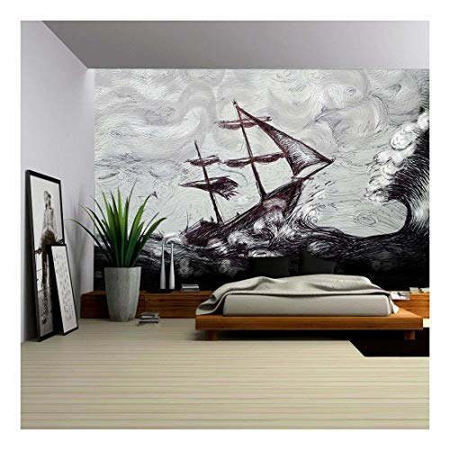 wall26 - Illustration - Classic Boat Illustration, Sailing Boat in the Storm - Removable Wall Mural | Self-adhesive Large Wallpaper - 100x144 inches