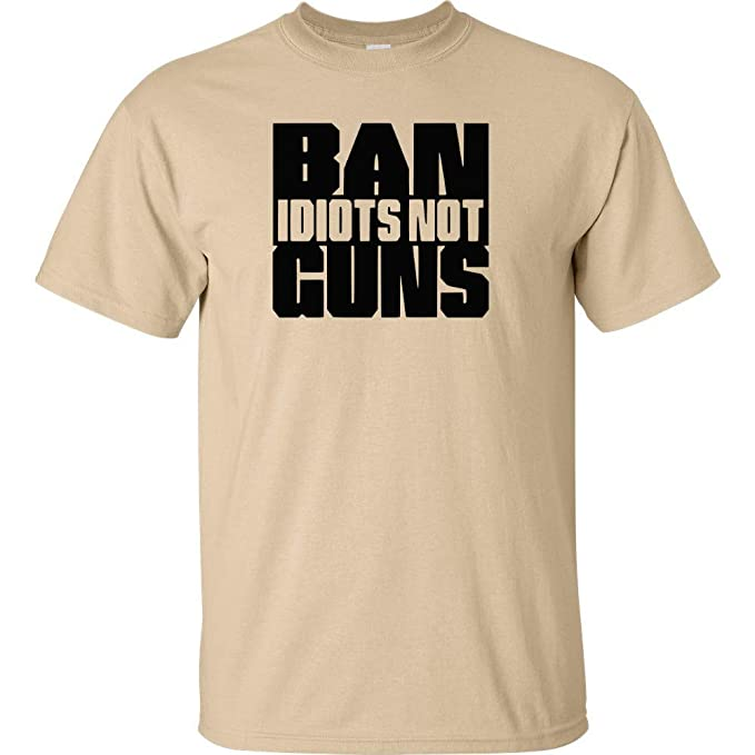 8cf0c331 Ban Idiots Not Guns Stacked Black Logo T Shirt Funny Tee Tan (Small)
