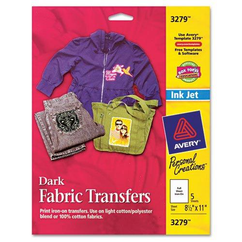 Avery Printable Heat Transfer Paper, for use on Dark Fabrics, 8.5 x 11, Inkjet Printers, 5  transfers -