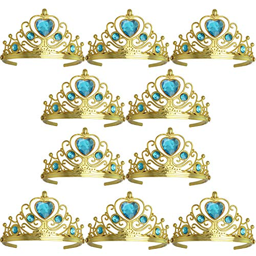 XiangGuanQianYing Tiaras and Crowns for Little Girls Crowns and Tiaras for Child from 3 Years Up Party Favors Sky Blue Tiara Plastic Gold Tiara(10 Pack)]()