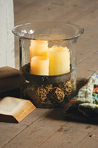 Kalalou Giant Glass Candle Cylinder w/ Metal Insert ()