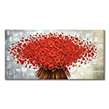 """master bathroom pictures Winpeak Art Hand Painted Abstract Canvas Wall Art Modern Textured Red Flower Oil Painting Contemporary Artwork Floral Hangings Stretched and Framed Ready to Hang (32"""" W x 16"""" H, Red)"""