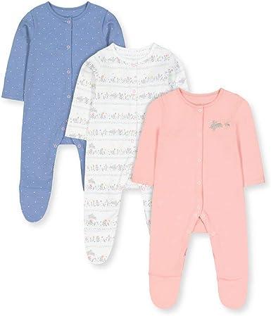 Mothercare G Lovely Bunny 3pk Sleepsuits Pijama, (Multi 1), 9 ...