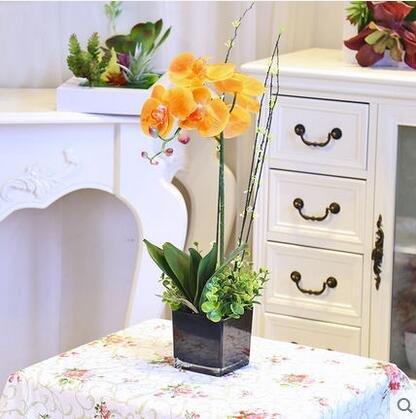 DDJ Fresh PU handle film simulation flower tea pot Phalaenopsis orchid flower set glass vase , E