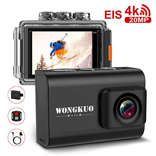 "WONGKUO Action Camera WiFi Sport Camera 4K 20 MP with EIS 30m/98 ft Waterproof Camera 170° Adjustable Wide Angle Camcorder 2"" LCD Screen, Night Vision, Remote Control, External Microphone"