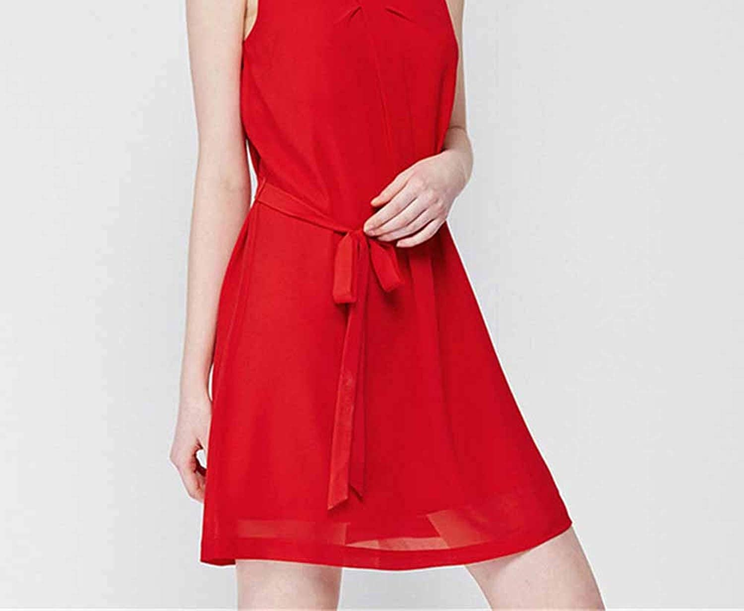 Neck Spring Women Casual with Sashes Straight Sleless Pleated Elegant Mini Brief Red Fe Dress