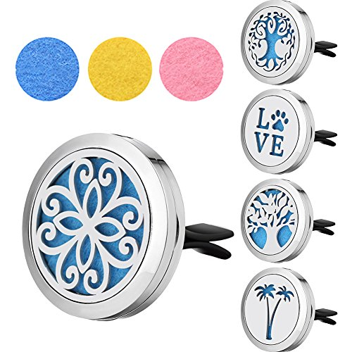 OSOPOLA Essential Oil Diffuser Car Air Freshener Vent Clip Stainless Steel Hollow Perfume with 3 Refill Pads 30MM - Lover Gifts for Men Women (#1)