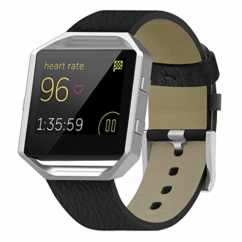 for Fitbit Blaze Band Smartwatch Full Grain Cow Leather Strap Genuine Leather Replacement Wristband Black by BONSTRAP (Image #4)