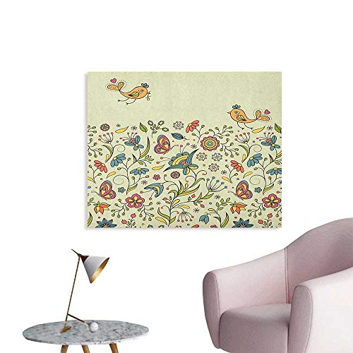 Anzhutwelve Flowers Wallpaper Flourishing Spring Meadow Ornate Artistic Nature Romantic Birds Butterflies Leaves Space Poster Multicolor W48 xL32