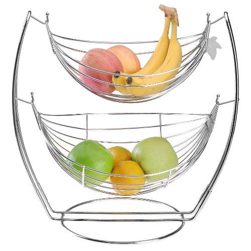 amazon     chrome double hammock 2 tier fruit   vegetables   produce metal basket rack display stand   mygift   amazon     chrome double hammock 2 tier fruit   vegetables      rh   amazon