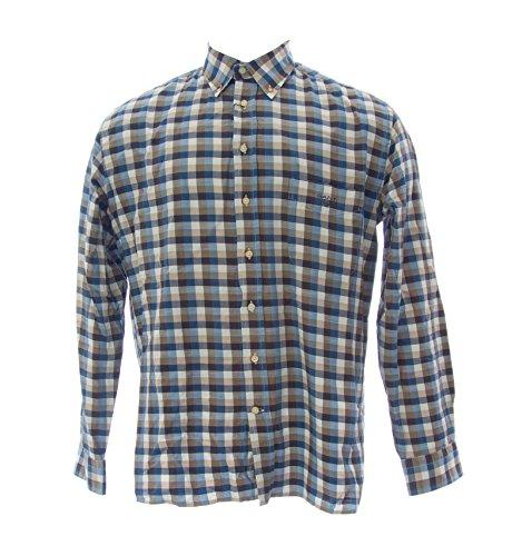 Gant Men's Italia Twill Checkered Button-Up Shirt Large Gold Beige