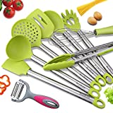 spatula non scratch - Kitchen Utensils, BravRain 9 Pieces Silicone and Stainless Steel Cooking Utensils set, Nonstick Non-Scratch Kitchen Tools- Spoon, Whisk, Spatulas, Skimmer, Ladle, Serving Tongs, Pasta Server, Peeler