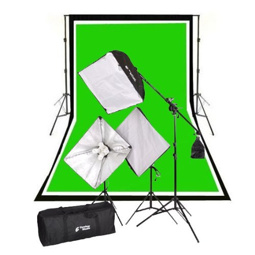 CowboyStudio Complete Photography and Video Stuido 2000 Watt Softbox Continuous Lighting Boom Kit with 10ft x12ft Black White Chromakey Green 3 Muslin Backgrounds and Backdrop Support Stands (Box Light 10 X 12)