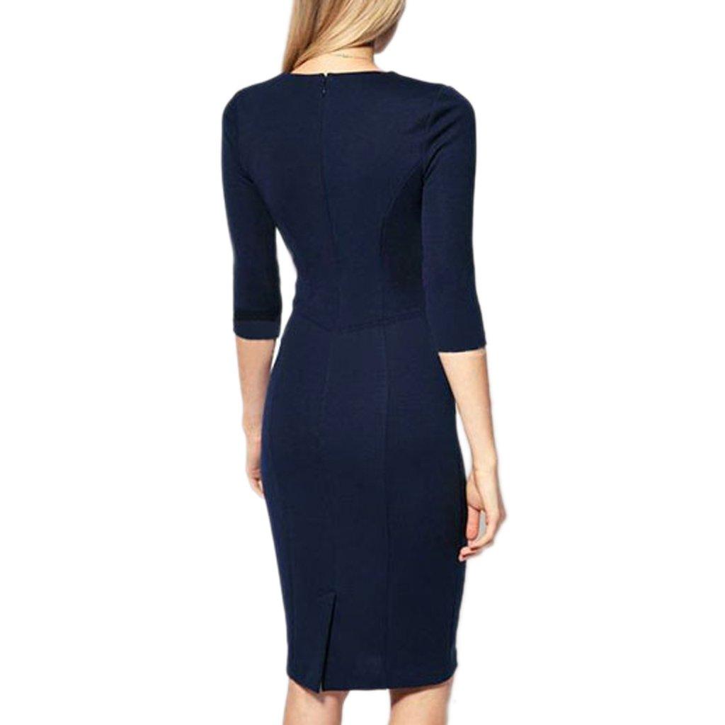 f9f3cd9c9a58 mywy - Abito donna tubino blu elegante vestito aderente festa vestitino  party occasione, colore blu, taglia XL: Amazon.it: Abbigliamento