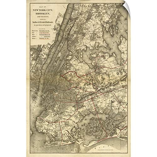 "CANVAS ON DEMAND 1885 NYC Map Wall Peel Art Print, 12""x18"""